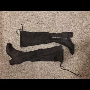 Black Steve Madden Velvet Thigh High Boots